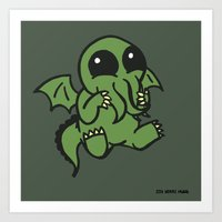 cthulu Art Prints featuring Cute Cthulu  by Nikki Hung