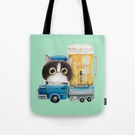 A cat in a beer truck Tote Bag