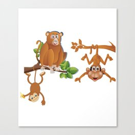 THREE MONKEYS TOGETHER AS FRIENDS T-SHIRT Canvas Print