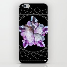 Crystal Totem Line Work Occult Tattoo Style Illustration iPhone Skin