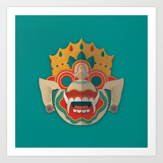 Paper Mask - Hanuman Art Print