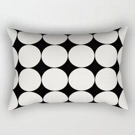 Circular Minimalism - Black & White Rectangular Pillow