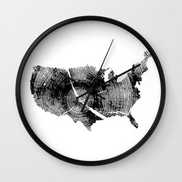 United States Print, Tree rings, Tree stump, Wood grain, Tree ring art Wall Clock