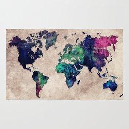 World map watercolor 1 Rug