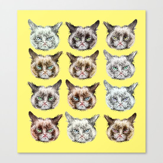 Cats Cats Cats on Yellow Canvas Print