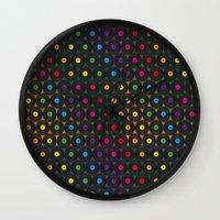 records Wall Clocks featuring disco records by kociara
