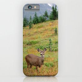 Deer at the mountain side iPhone Case