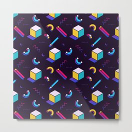 Festive Background in Neo Memphis Style Colorful Space Decorative pattern Metal Print