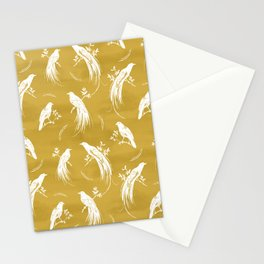 Birds of paradise mustard/white Stationery Cards