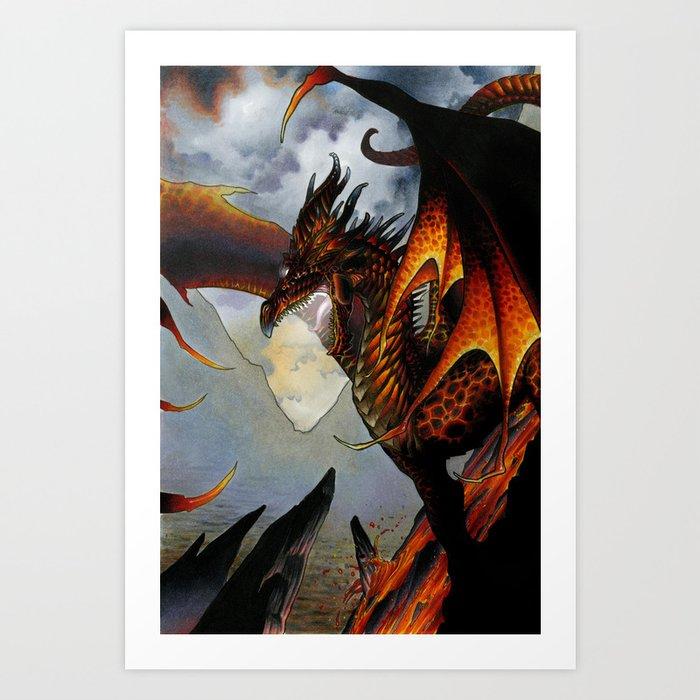 Red Lava Dragon Art Print