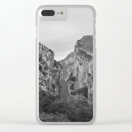 French Gorges in the winter [black and white] Clear iPhone Case