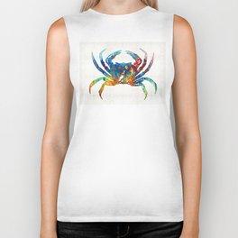 Colorful Crab Art by Sharon Cummings Biker Tank