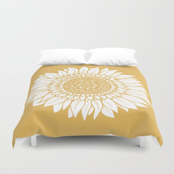 Yellow Sunflower Drawing Duvet Cover