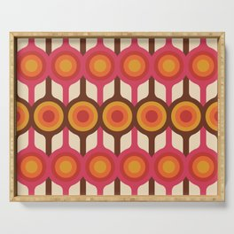 Magenta, Orange, Ivory & Brown Retro 1960s Circle Pattern Serving Tray
