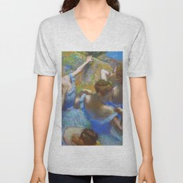 """Edgar Degas """"Dancers in blue"""" Unisex V-Neck"""
