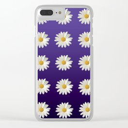 Daisies (blue-purple background) Clear iPhone Case