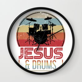 Jesus And Drums Wall Clock
