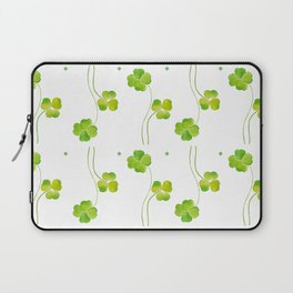 green clover leaf pattern watercolor Laptop Sleeve