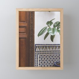 Morocco Riads | Interior travel Photography - patterns found in Morocoo Framed Mini Art Print