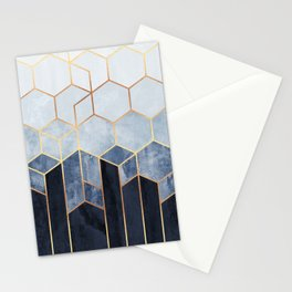 Soft Blue Hexagons Stationery Cards