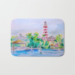 Elbow Reef Lighthouse Hope Town, Abaco, Bahamas Watercolor painting Bath Mat