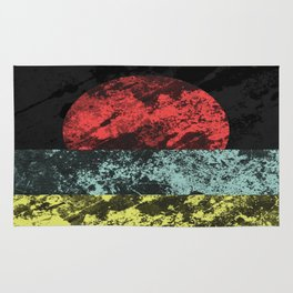 Sunset Beach - Abstract, marble effect, geometric painting Rug
