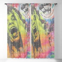 Pop Art Portrait 'Like a Rolling Stone' painting by Silvia Klippert Sheer Curtain