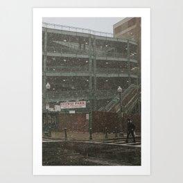 Snowy Fenway Art Print