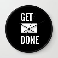 get shit done Wall Clocks featuring Get Shit Done - Black by Elisa Gordon