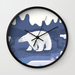 Vintage Polar Bear Illustration in the style of Mary Blair. Wall Clock