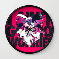 lebron Wall Clocks featuring LEBRON 2 TIME CHAMPION by mergedvisible