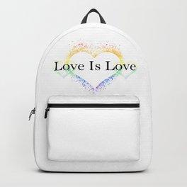 Splatter Paint Triple Hearts Love is Love Pride Rainbow Minimalist Art Backpack