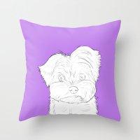 yorkie Throw Pillows featuring Yorkie by FeliciaR