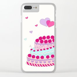 Valentine cake with two hearts Clear iPhone Case