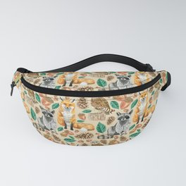 Woodland Creatures Illustrated Watercolor Pattern Fanny Pack