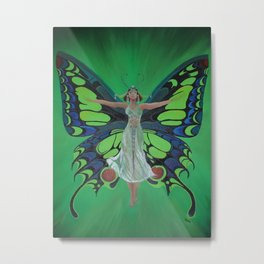 Art Nouveau Vintage Flapper With Butterfly Wings Metal Print