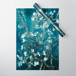 Van Gogh Almond Blossoms : Dark Teal Wrapping Paper
