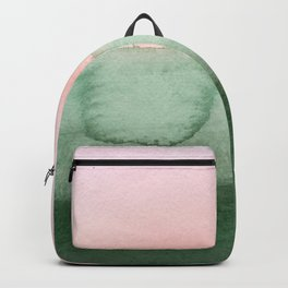Hand painted pink green gradient watercolor Backpack