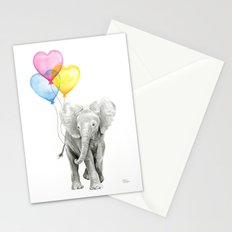 Elephant Watercolor with Balloons Rainbow Hearts Baby Whimsical Animal Nursery Prints Stationery Cards