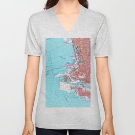 Vintage Map of Oakland California (1959) Unisex V-Neck