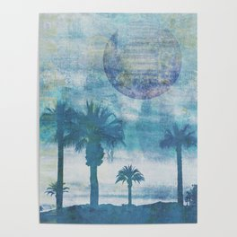 Pacific Paradise Island Blue Moon Poster