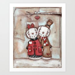 """Our Time""  Primitive Snow Couple in Love Art Print"