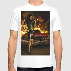 Hot chick SMALL White Mens Fitted Tee