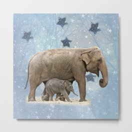 Elephant with Baby Metal Print