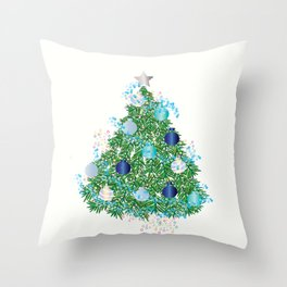 Christmas Tree Decorated in Blues Throw Pillow