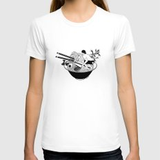 Noodle Wave SMALL White Womens Fitted Tee