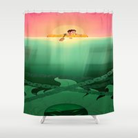 jaws Shower Curtains featuring JAWS by hyasinths