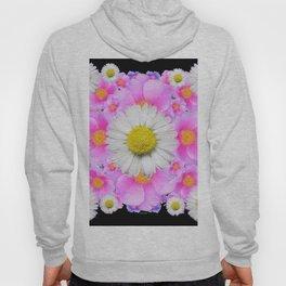 Ebony Black  Color Shasta Daisys & Rose Pattern Garden Art Hoody