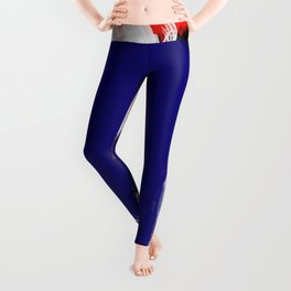 Abstract Blue White and Red Painting Minimalist Leggings