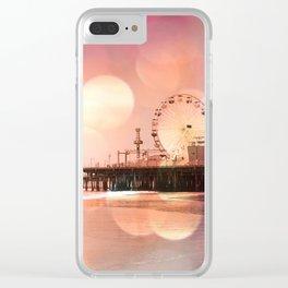 Sparkling pink Santa Monica Pier Clear iPhone Case